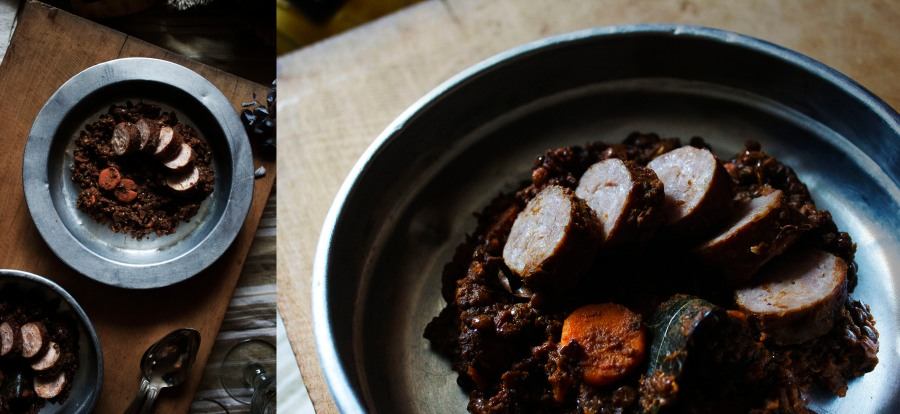 Le Puy green lentils, sausage & streaky bacon | Infinite belly