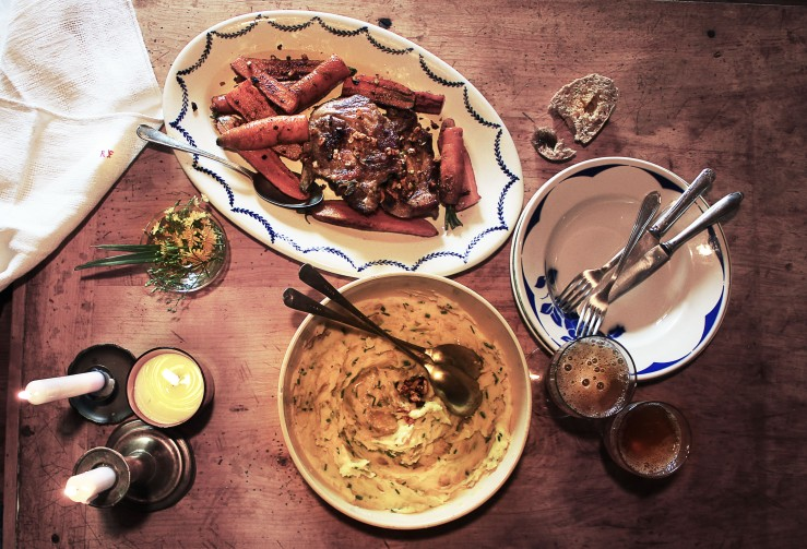 Grilled pork chops, garlic purée & sautéed cumin carrots | Infinite belly