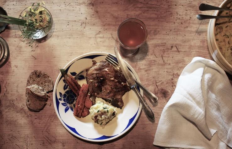 Grilled pork chops, garlic purée & sautéed cumin carrots   Infinite belly