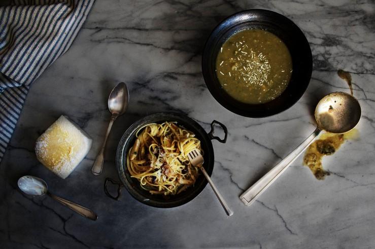 Porcini mushroom creamy linguini with minestrone soup | Infinite belly