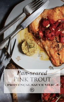 Pan-seared pink trout & sauce vierge