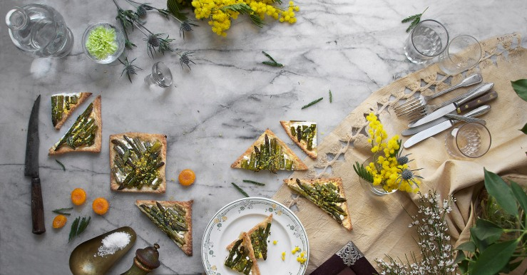Honey roasted asparagus & goat cheese puff tarts | Infinite belly
